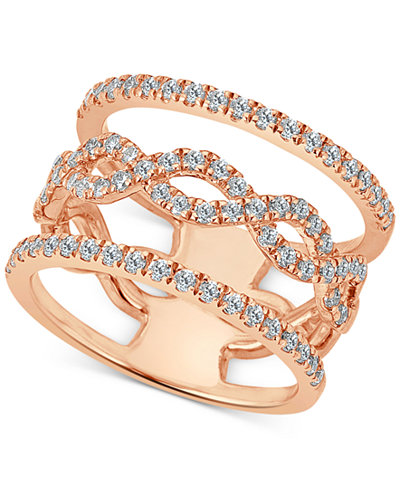 Diamond Openwork Statement Ring (1 ct. t.w.) in 14k Rose Gold