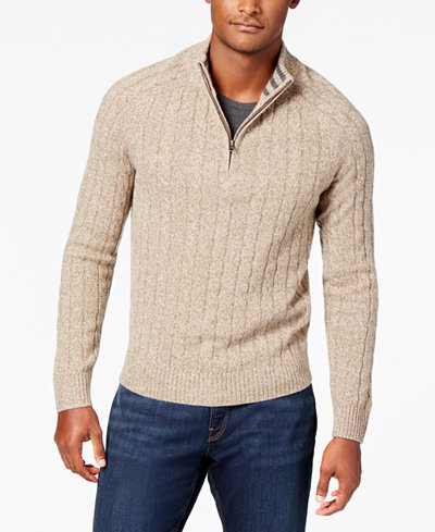 Brooks Brothers Red Fleece Men's Quarter-Zip Cable Knit Sweater