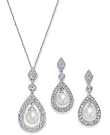 Cultured Freshwater Pearl and White Topaz Jewelry Collection in Sterling Silver