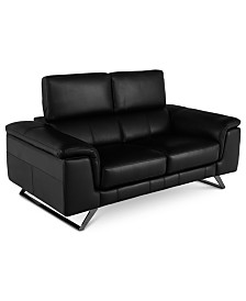 """Trivoly 68"""" Leather Loveseat with Articulating Headrest, Created for Macy's"""