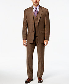 Lauren Ralph Lauren Men's Classic-Fit Ultraflex Brown Plaid Flannel Suit Separates