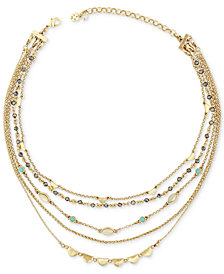 Lucky Brand Gold-Tone Stone & Bead Multi-Layer Necklace