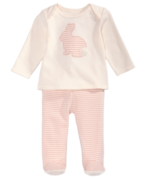 First Impressions 2Pc Cotton Bunny TShirt  Footed Pants Set Baby Girls (024 months) Created for Macys