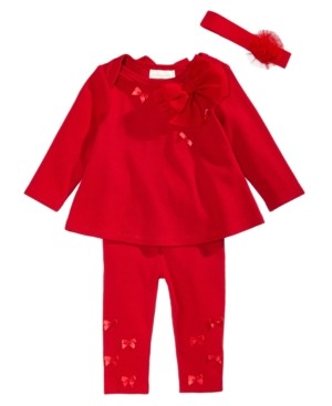 First Impressions 3Pc Headband Bow Tunic  Leggings Set Baby Girls (024 months) Created for Macys
