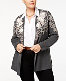 Charter Club Plus Size Floral Jacquard Cardigan Created for Macys