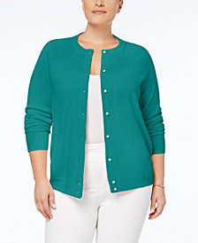 Karen Scott Plus Size Luxsoft Crew-Neck Cardigan, Created for Macy's