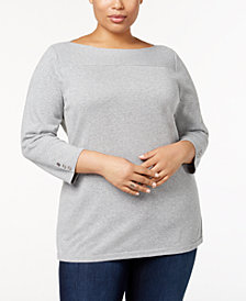 Karen Scott Plus Size Cotton Boat-Neck Sweater, Created for Macy's