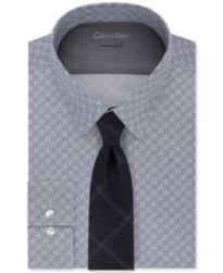 Calvin Klein Men's Performance Print Dress Shirt & Triple Pane Tie