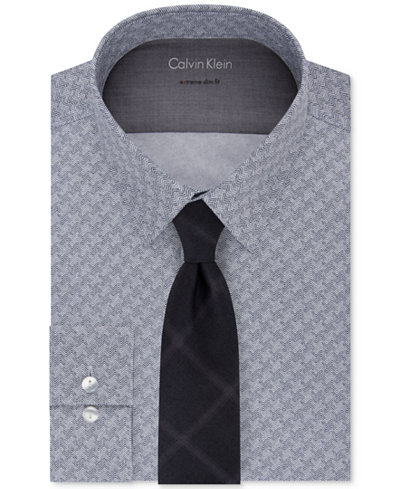 Calvin Klein Men's Performance Print Dress Shirt & Triple Pane Tie