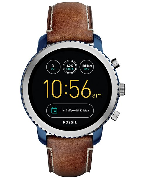Fossil Q Men's Explorist Gen 3 Brown Leather Strap Touchscreen Smart Watch 46mm