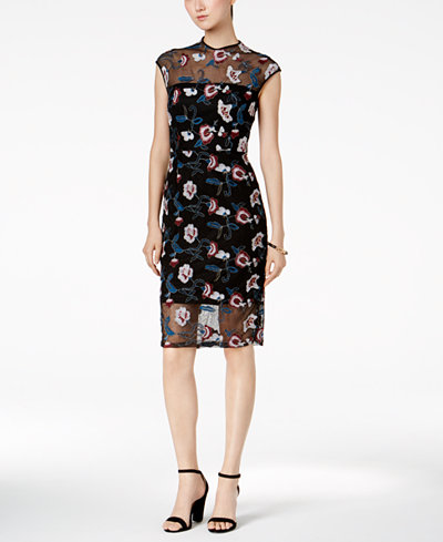 Donna Ricco Floral-Embroidered Illusion Dress