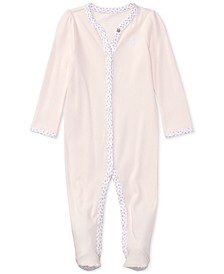 폴로 랄프로렌 여아용 잠옷 Polo Ralph Lauren  Baby Girls Interlock Stretch Coverall,Delicate Pink