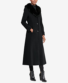 Lauren Ralph Lauren Faux-Fur Collar-Maxi Coat