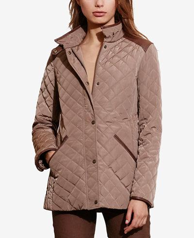 Lauren Ralph Lauren Faux-Leather-Trim Quilted Jacket, Created for ... : quilted ralph lauren jacket - Adamdwight.com