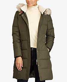 Lauren Ralph Lauren Faux-Fur-Trim Quilted Puffer Coat, Created for Macy's