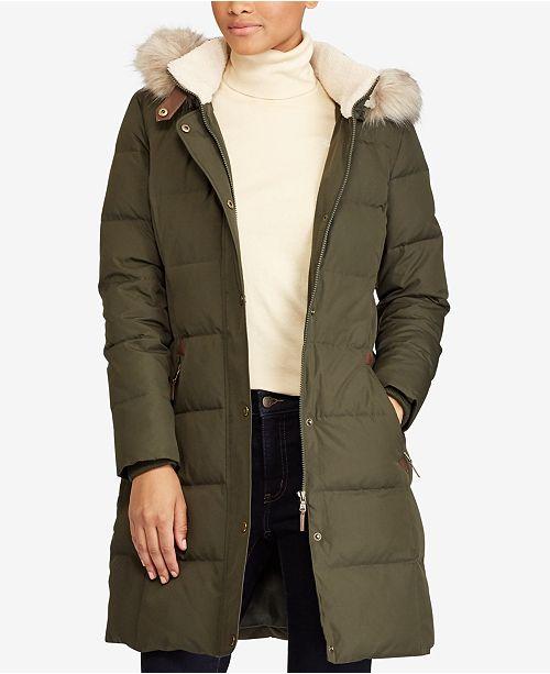 3465e9527c2a ... Lauren Ralph Lauren Faux-Fur-Trim Quilted Puffer Coat