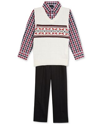 Nautica 3-Pc. Plaid Shirt, Fair Isle Sweater Vest & Pants Set ...