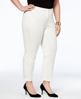 Alfani Plus Size Slit-Hem Skinny Pants, Created for Macy's