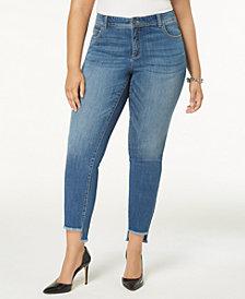 I.N.C. Plus Size Tummy Control Step-Hem Skinny Jeans, Created for Macy's