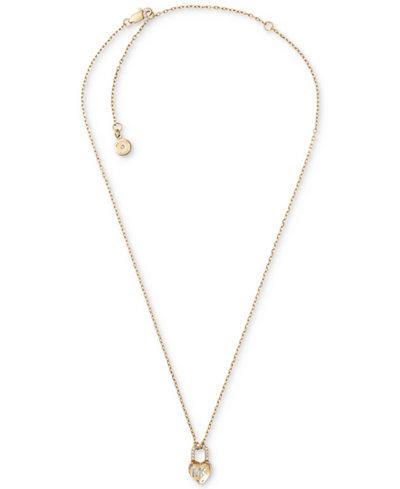 Michael kors pav heart lock pendant necklace jewelry watches michael kors pav heart lock pendant necklace aloadofball Gallery