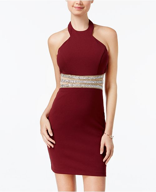 a8866c7fc Speechless Juniors' Embellished Bodycon Halter Dress; Speechless Juniors' Embellished  Bodycon Halter ...