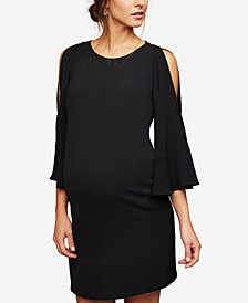 A Pea In The Pod Maternity Cold Shoulder Bell-Sleeve Dress