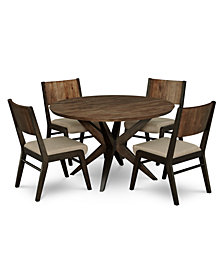 Ashton Round Pedestal Dining Furniture 5 Pc Set Table