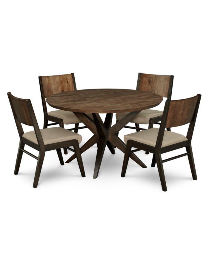 Furniture Ashton Round Pedestal Dining Furniture, 5-Pc. Set (Round Pedestal Dining Table & 4 Side Chairs) & Reviews - Furniture - Macy's