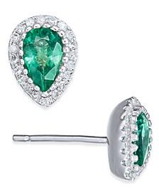 Emerald (5/8 ct. t.w.) & Diamond (1/8 ct. t.w.) Stud Earrings in 14k White Gold