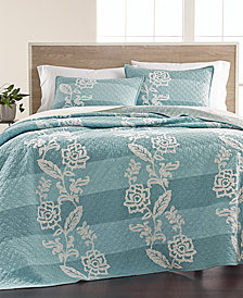 Martha Stewart Collection Gardenia Cotton Stripe Crewelwork King Quilt, Created for Macy's