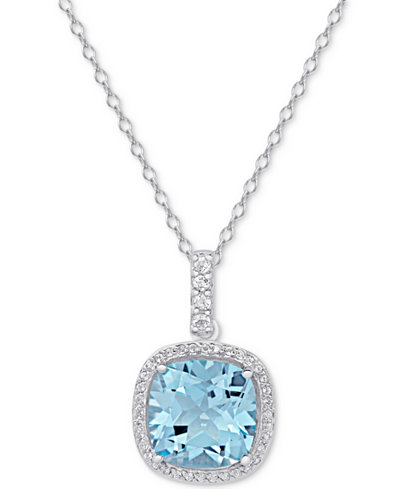 Blue Topaz (1-5/8 ct. t.w.) & White Topaz (4-3/4 ct. t.w.) Pendant Necklace in Sterling Silver