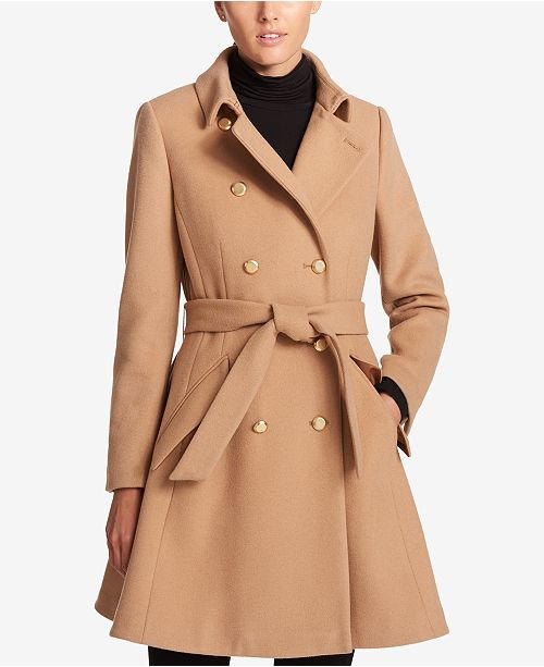 ee859e36a2b DKNY Double-Breasted Fit   Flare Peacoat   Reviews - Coats - Women ...