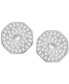 Swarovski Men's Silver-Tone Reversible Pavé Cuff Links