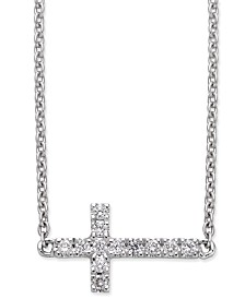 Diamond Side Cross Pendant Necklace (1/10 ct. t.w.) in 14k White Gold