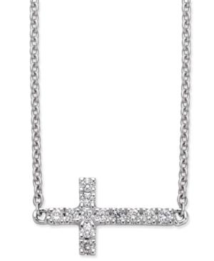 Diamond Side Cross Pendant Necklace (1/10 ct. t.w.) in 14k White Gold