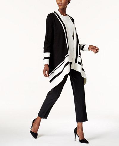 Anne Klein High-Low Cardigan, Tank Top & Skinny Stretch Pants
