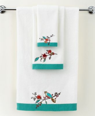 """Simply Fine Bath Towels, Chirp Embroidered 11"""" x 18"""" Fingertip Towel"""