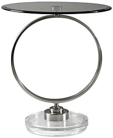 Dixon Brushed Nickel Accent Table, Quick Ship