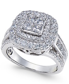 Diamond Halo Quad Ring (2 ct. t.w.) in 14k White Gold
