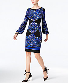 I.N.C. Petite Printed Peasant-Sleeve Dress, Created for Macy's