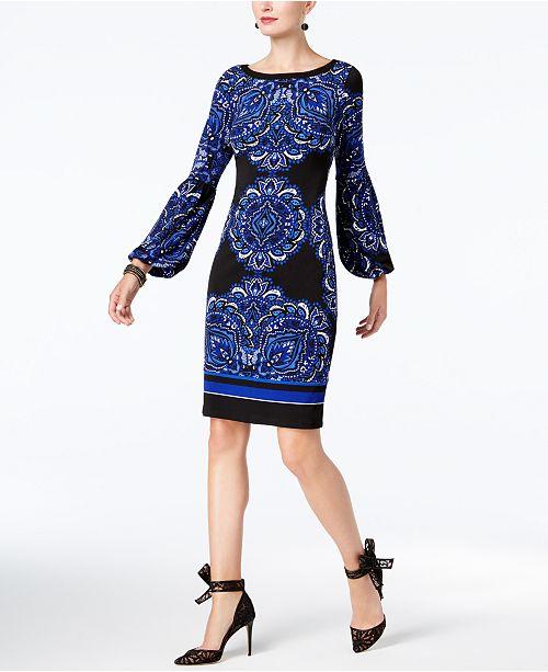 a5b26d449c9 INC International Concepts I.N.C. Blouson-Sleeve Sheath Dress ...