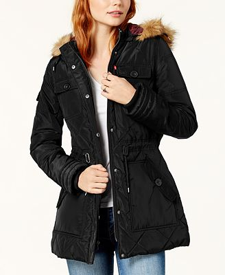 Levi's® Faux-Fur-Trim Quilted Parka - Coats - Women - Macy's