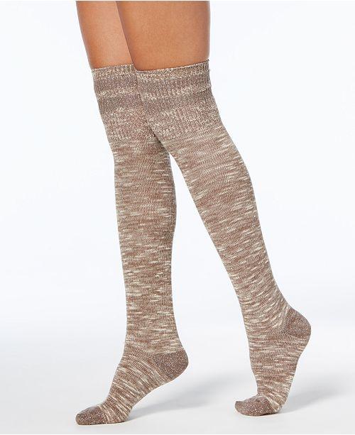 Hue Women's Metallic-Stripe Textured Over-The-Knee Socks