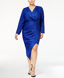Monif C. Trendy Plus Size Asymmetrical Faux-Wrap Dress
