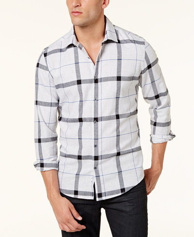 Alfani Brushed Plaid Shirt, Created for Macy's