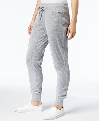 Calvin Klein Velour Drawstring Jogger Pants, a Macy's Exclusive Style