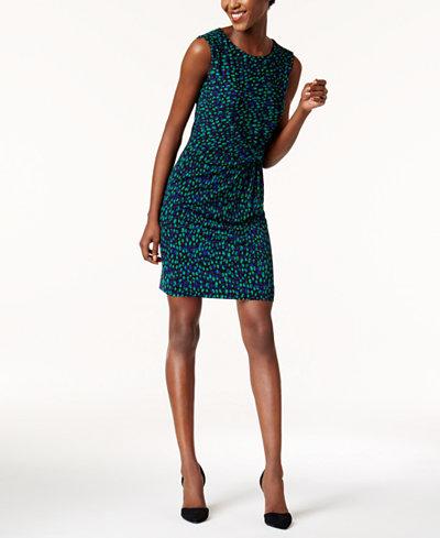 Anne Klein Printed Side-Twist Sheath Dress