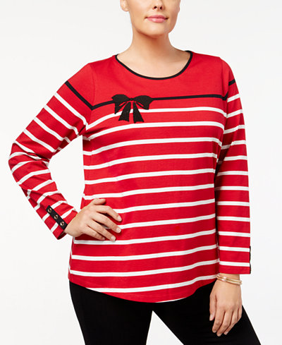 Charter Club Plus Size Cotton Embellished Striped Top, Created for Macy's