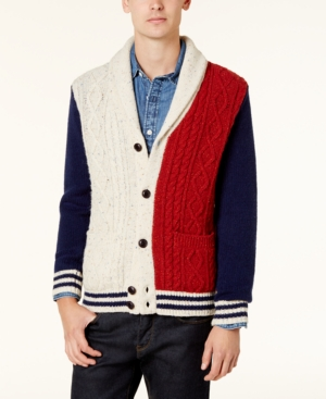1960s Style Men's Clothing, 70s Men's Fashion Tommy Hilfiger Mens Stevenson Shawl-Collar Cardigan $199.00 AT vintagedancer.com