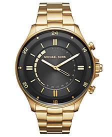Michael Kors Access Men's Reid Gold-Tone Stainless Steel Hybrid Smart Watch 45mm